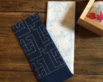 Set of 2 Sashiko Fabric Kit, Sashiko, Hand made, Fast Sashiko, Sashiko Thread, Fun Fun Sashiko Set #010