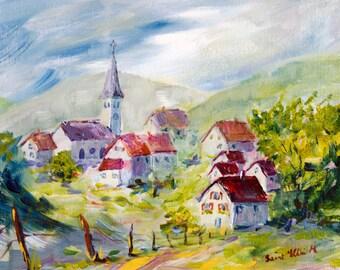 Peinture originale de village, Acrylique originale, tableau original d'un village en France, avec maisons et clocher