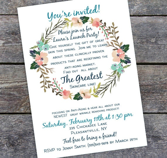 Custom business launch party invitation printable flower custom business launch party invitation printable flower invitation pdf pronofoot35fo Images