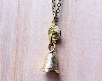 Bell Pull Necklace Inspired by Downton Abbey, maid / butler / servant bell charm