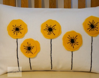 Yellow Poppy Cushion/Pillow  30cm x 40cm  Duck Feather