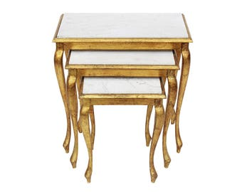 Gilt Nesting Tables with Marble Tops - Set of 3- Hollywood Regency Midcentury Gold Brass