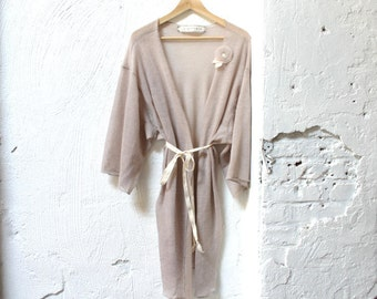 Dusty Rose Fine Wool and Mohair Sweater Knit Robe