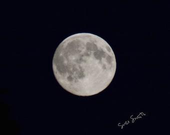 Blue Moon, July Full Moon photo, moon phase photograph, night sky, monochrome