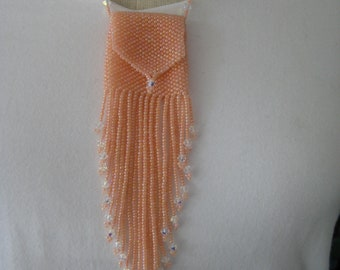 Medicine Bag Necklace, handbeaded in Peach, Amulet Bag,