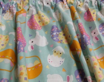 Window Curtain and Valance Easter Egg Basket Chick Rabbit Handmade