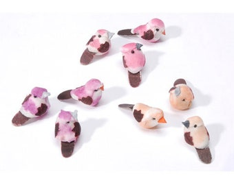 Micro Mini Mushroom bird 29x12mm 6 pieces pink purple or peach