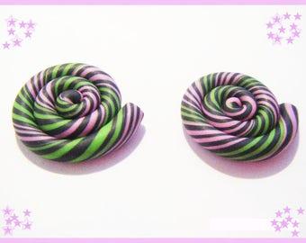 2 polymer clay lollipop cabochons original candy treats