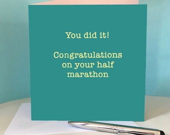 Half Marathon Congratulations Card for Runner / Running Friend