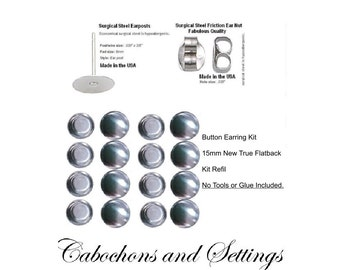 100 x 15mm DIY Earring Kit Fabric Covered Buttons New Style True Flat Back  to make 50 Pair REFIL AUSTRALIA