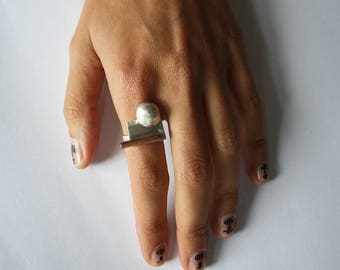 Embo ring, unique ring, one of a kind ring, modern ring, statement ring, minimalist ring, silver ring, copper ring, recycled ring