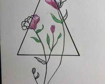 Floral and geometric drawing