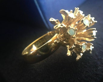 Vintage 1970s Sarah Coventry Ring Faux Opal Golden Cocktail Ring Adjustable Band