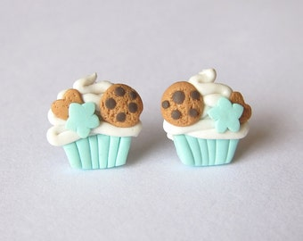 Mint Earrings, Cupcake Earrings, Girls Earrings, Small Girls Earrings, Muffin Earrings, Polymer Clay Earrings, Miniature Food Jewelry, Fimo
