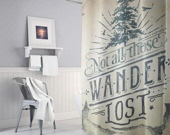 Wanderlust Art Shower Curtain, Adventure Shower Curtain, Boho Bathroom decor, Wanderlust Home Decor, Bath Curtain, Trendy, Gifts, Indie