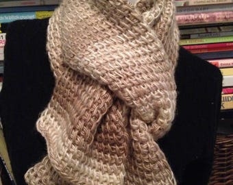 Beige and Sand Textured Knit Scarf