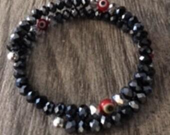 Red,White And Blue Memory Evil Eye Bracelet
