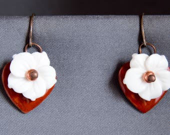 Red Heart with white carved flower earrings