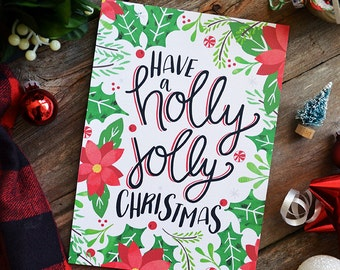 Have a holly jolly Christmas, Art Print Happy Holidays, Christmas Decor, Holidays decor, Wreath, Merry Christmas, Winter Illustration