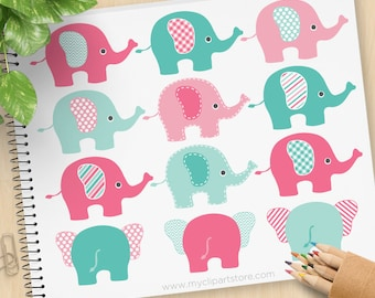 Pink and Blue Elephant clipart, polka dots, chevrons, stripes, baby shower, new baby, commercial use, vector clipart, SVG cut file