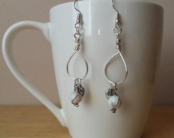White Howlite Earrings, Hypoallergenic Earrings, Wire Wrapped Earrings, Wire Wrapped Jewelry, Chakra, Crystal Earrings, Gemstone Earrings