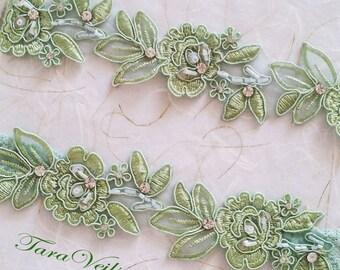 Wedding garter set,Green Garter,Rhinestone Green garter, light Green garter,Bridal garters,bridal garter,Floral lace garter, pin