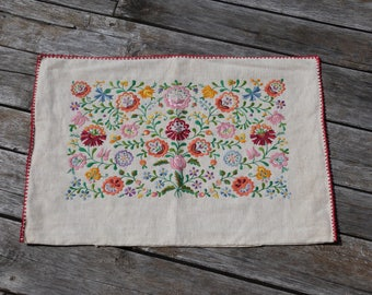 Hungarian embroidery Vintage Hand Embroidered Kalocsa Floral Linen Pillow case from the 70s, kalocsai pillow, decorative pillow, OM