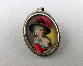 Vintage Silver Pendant Brooch Painted Jewelry 800 Silver Jewellery Vintage Collectibles