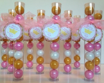 Princess Ball, Princess Crown, Princess Gumball Tube Party Favors, Set of 12, Gold, Shimmer Pink and White with Personalization