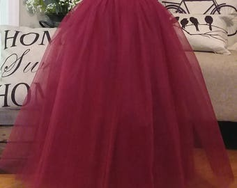 Free Shipping to USA Custom Made Girls  Burgundy   Floor Length Tulle Skirt -for Flower Girl,Rustic Wedding