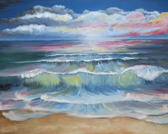 Oil painting Sea with Beach 3, Gr.: 70 x 50 cm wave Landscape