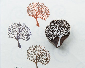 Rain Tree, hand carved wood stamp