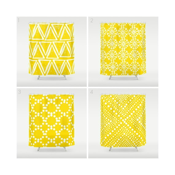 Yellow Shower Curtain - Geometric Shower Curtain - Modern Shower Curtain - White Shower Curtain - Triangle Shower Curtain - Yellow and White