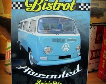 "small metal plate ""Bistro aircooled"" deco 30x21cm VW combi"