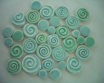 34JM - 34 pc JADE SWIRL Stamped Circles - Ceramic Mosaic Tile Set