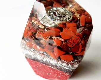 Red Jasper and Red Brecciated Jasper Crystal Shaped Orgone - With Om Charm