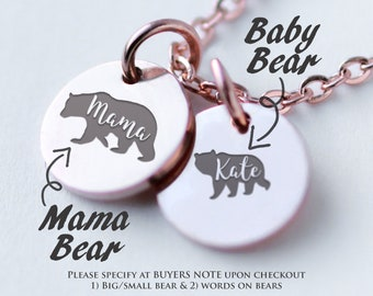 Mama Bear Necklace /MAMA & BABY BEAR/ Generation Neclace/ Tiny Disc Necklace/ Mom Necklace with kids names/ Tiny Circle Necklace A3 01