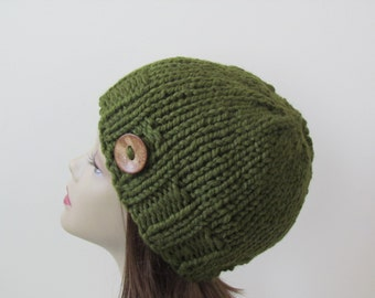 Chunky Knit Hat Winter Hat Chunky Knit Beanie Womens Hat Teens Hat - Cilantro with  Button Accent  - Ready to Ship - Gift for Her