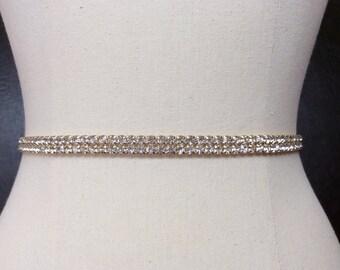 Skinny Gold Rhinestone Belt, Bridal Belt, Gold Wedding Sash, Thin Bridal Sash, Gold Rhinestone Wedding Belt, Best Friend Bridal 112G3