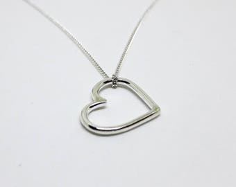Chain silver heart, a gentle heart necklace, silver 925, silver heart pendant, sterling silver, birthday gift, unique heart