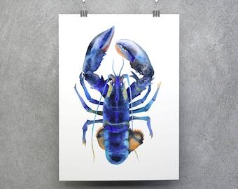 Blue Lobster Poster, Lobster Print, Ocean Wall Art, Blue Lobster Wall Art, Ocean Poster, Lobster Illustration, Lobster Art, Ocean Picture