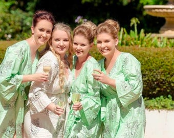 Premium Mint Bridesmaids Robes - Floral Sketch Pattern - Soft Rayon Fabric - Better Design - Perfect for getting ready on your big day