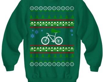 Mountain Bike Cycling Ugly Christmas Sweater biking bicycle mountain holidays