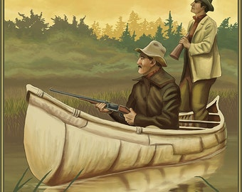 Hunters in Canoe (Art Prints available in multiple sizes)