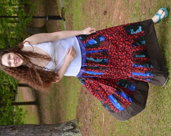 Gypsy Belly Dance Skirt, Ethnic Tribal Hippie Skirt, Bohemian Patchwork Festival Skirt, Handmade Eco Clothing, Plus Size Boho Maxi Skirt