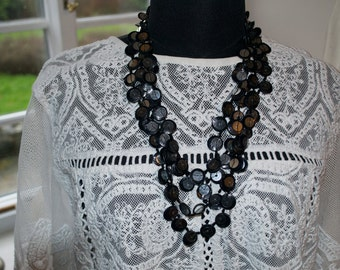 Vintage Necklace Black disks with sequins Multistrand Statement Necklace