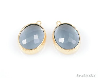 Charcoal Color and Gold Framed Glass Oval Pendent - 2pcs Charcoal Glass Pendant 12 x 16mm, Earrings Jewelry Pendant / SCCG009-P