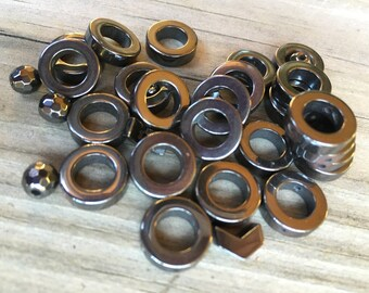 24 Hematite round circles