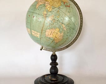 Vintage globe pencil sharpener german globe circa 1930 rare world globe from japan terrestrial globe dated 1912 antique japanese decor labeled gumiabroncs Choice Image