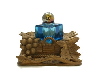 Antique Black Forest Wood Carving Inkwell with Cobalt Blue Crystal Ink Pot. Carved Wooden Basket with Grape and Vine Leaves. Gift for Writer